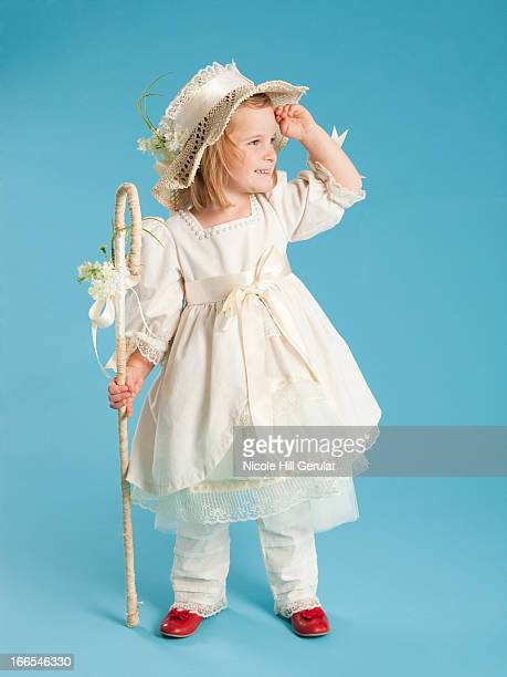 girl (2-3) in little bo peep costume for halloween - little bo peep stock photos and pictures