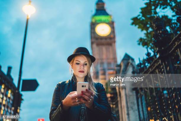 Girl in London texting
