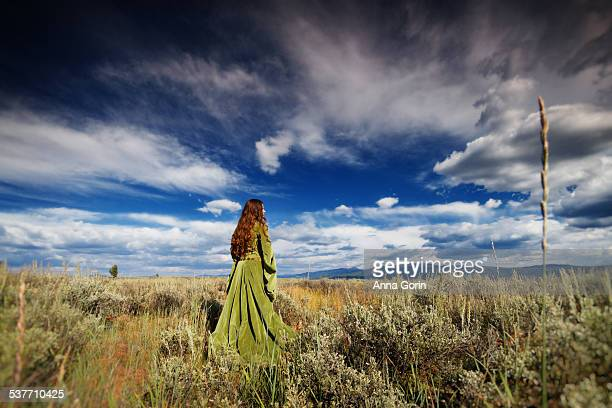 Girl in medieval gown in field with dramatic sky