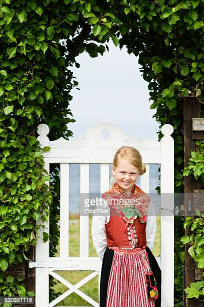 Girl in national costume, Sandham, Sweden