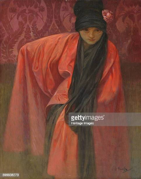 Girl in Red, c. 1914. Private Collection. Artist : Mucha, Alfons Marie .