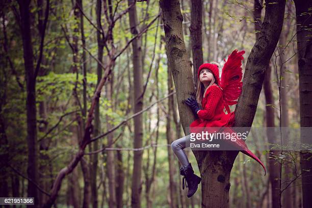 Girl in red dragon costume, sitting in a tree