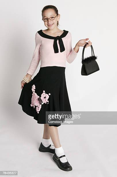 girl in retro costume - poodle skirt stock photos and pictures