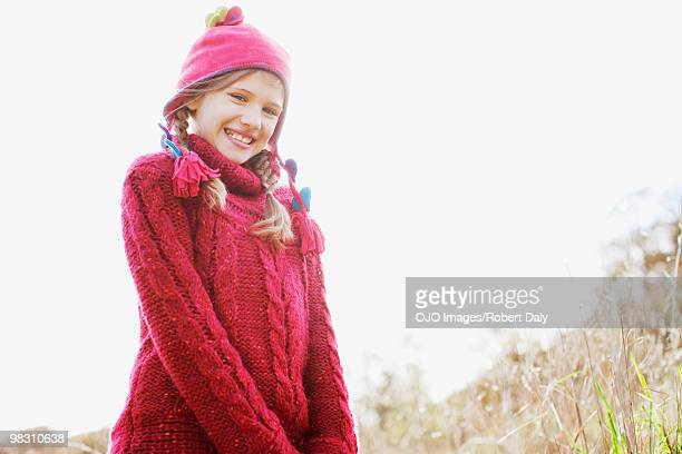 Girl in rural field