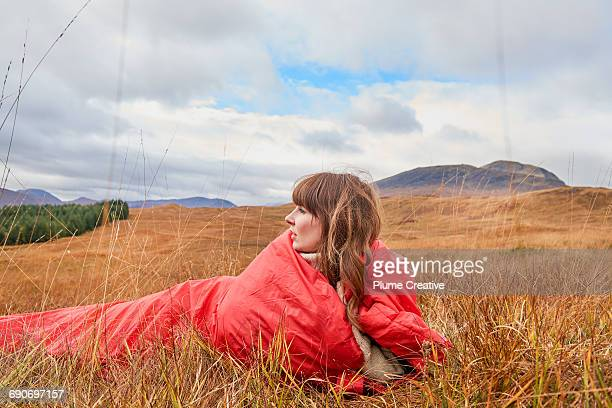 Girl in sleeping bag