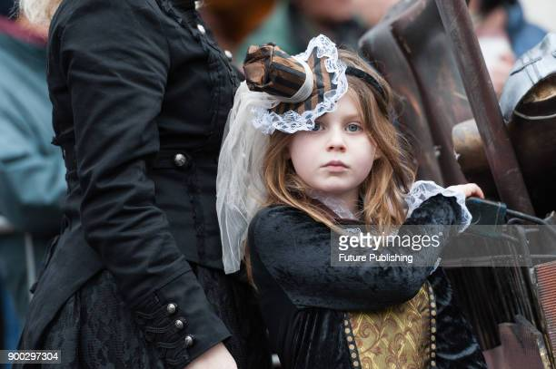 A girl in steampunk costume during London's New Year's Day Parade 2018 Around 500000 spectators gather along the parade route to watch more than...
