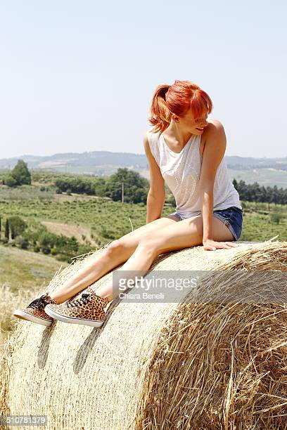 Girl in Summer Tuscany countryside