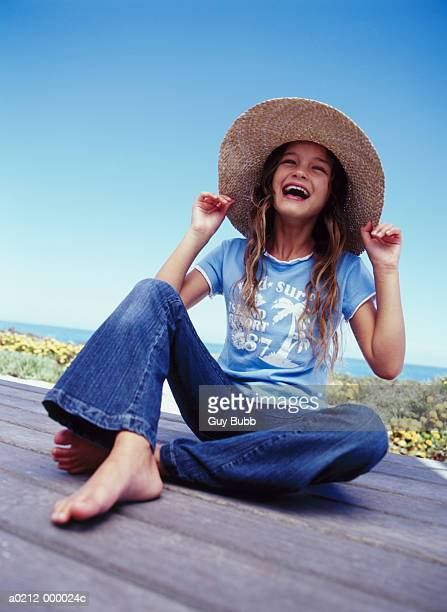 Girl in Sun Hat Laughing