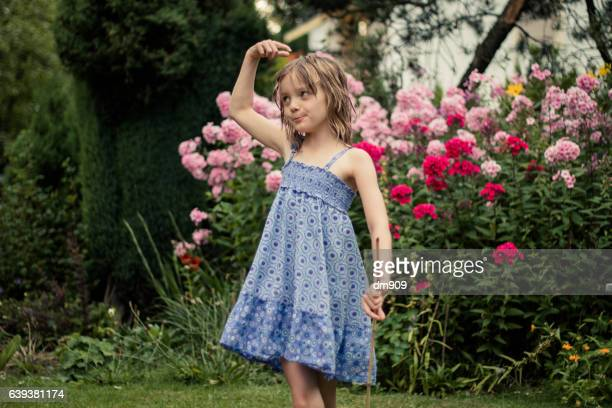 girl in the backyard