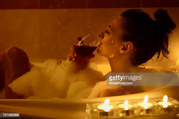 girl in the bath - bubble bath stock pictures, royalty-free photos & images