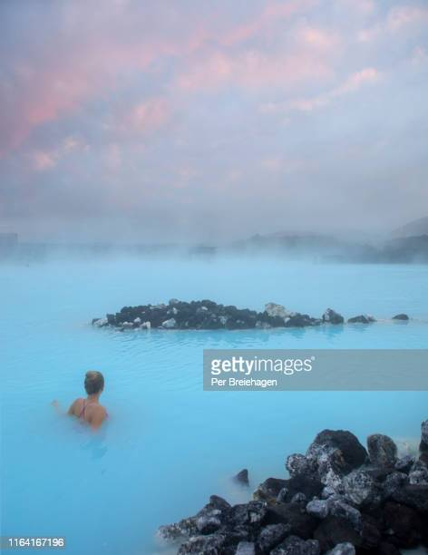 a girl in the blue lagoon_iceland - iceland stock pictures, royalty-free photos & images