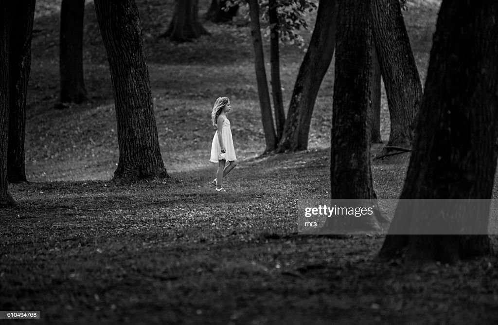 Girl in the forest : Stock Photo