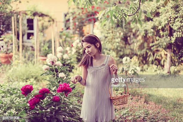 girl in the garden with basket full of eggs - pretty girls stock photos and pictures