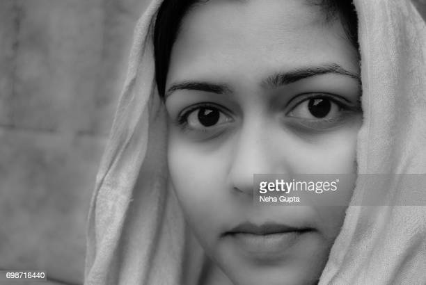 Girl In The Headscarf - Monochrome
