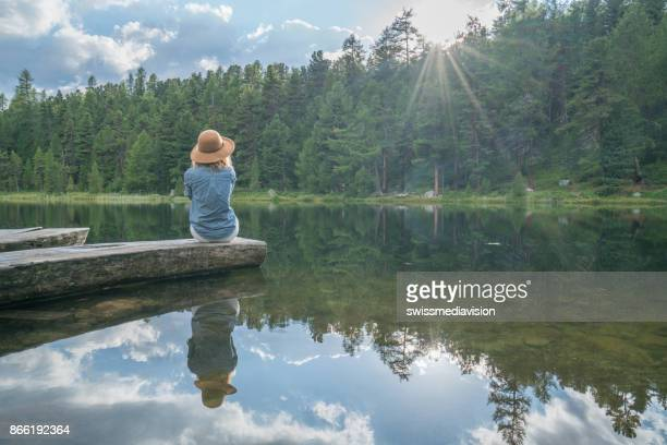 girl in the mountains, switzerland - jetty stock pictures, royalty-free photos & images