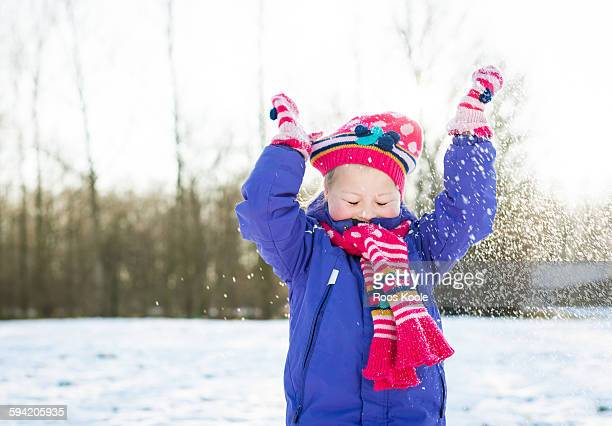 girl in the snow - mitten stock pictures, royalty-free photos & images