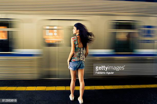 girl in the subway - moving past stock photos and pictures