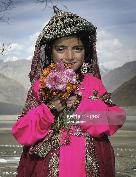 Girl in traditional clothing is seen at Nansoq Organic village on November 03, 2006 in Skardu, Pakistan. This is the sixth and last day of the Royal...