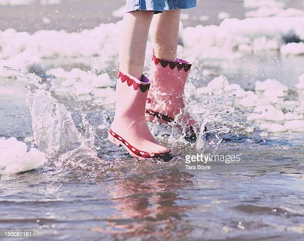 Girl in water splashing