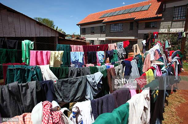 Girl is fixing clothes after washing them in the Cargo Human Care Social project by Lufthansa Airline in Cooperation with different sponsors on March...