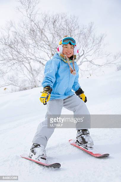 A girl is skiing.