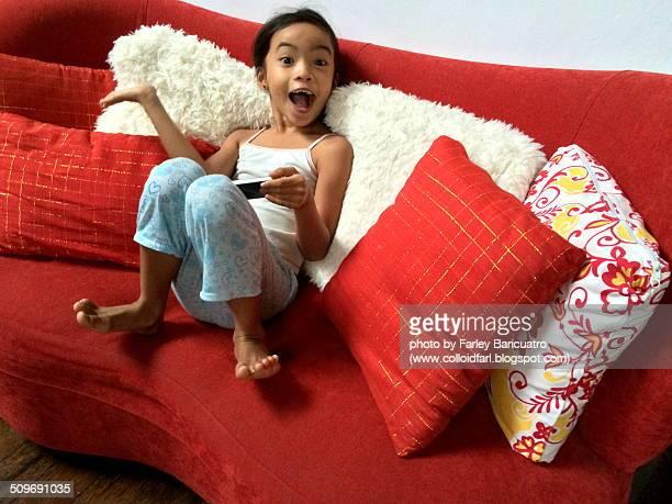 Girl jokingly posing with phone