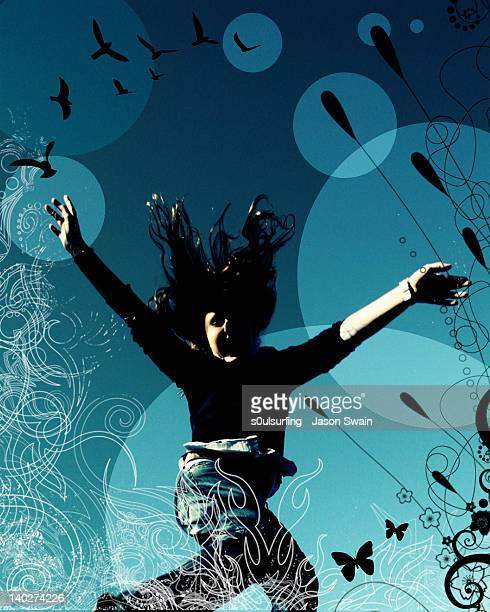 girl jumping against blue background - s0ulsurfing foto e immagini stock
