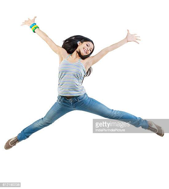 Girl jumping in the air