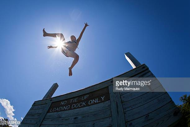 Girl jumping on air