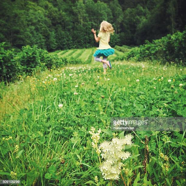 Girl (12-13) jumping on meadow