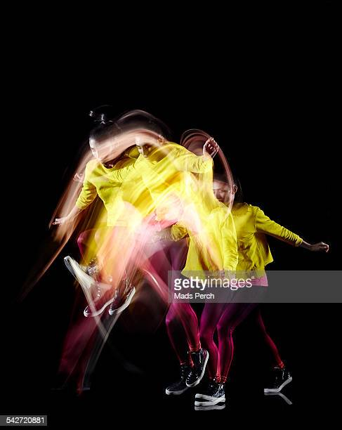 girl jumping - long exposure stock pictures, royalty-free photos & images