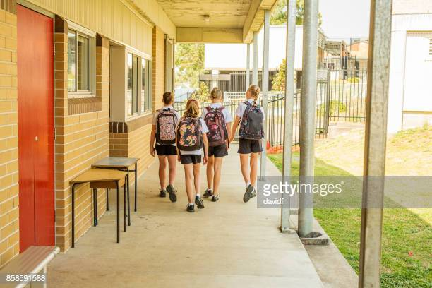 Girl Junior High School Students Arriving at School