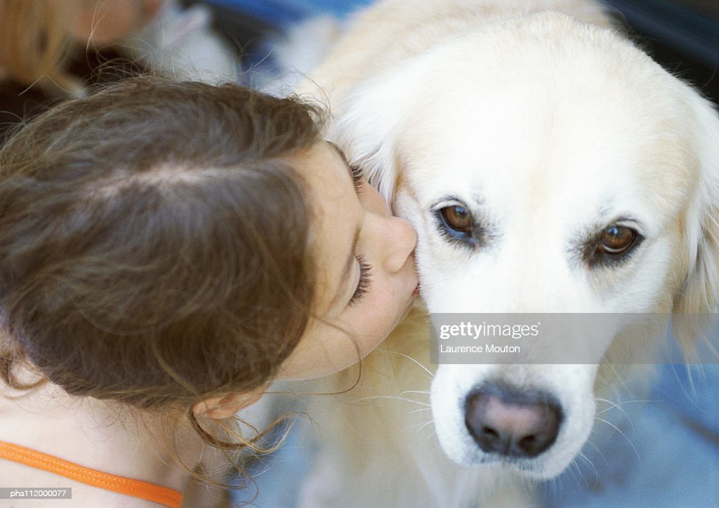 Girl kissing dog, elevated view : Stockfoto