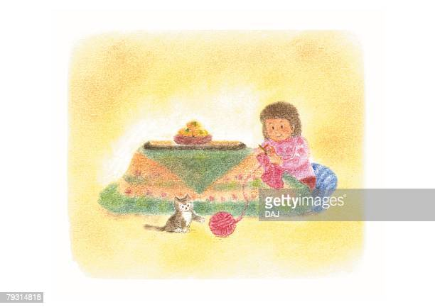 Girl knitting in kotatsu, Illustration