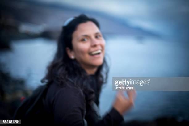 girl laughing, puerto naos, la palma. - laughing jesus images stock pictures, royalty-free photos & images
