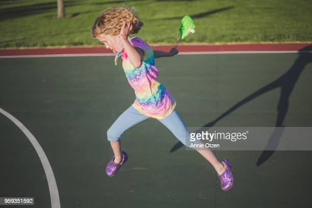 Girl leaping