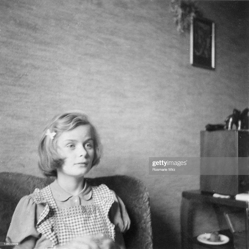 Girl listening to radio : Stock Photo