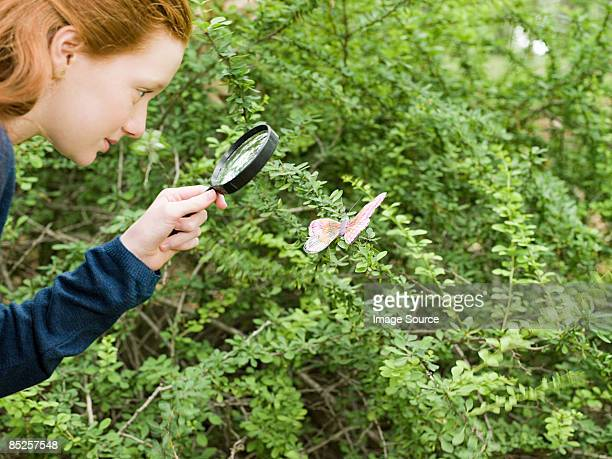 A girl looking at a butterfly with a magnifying glass
