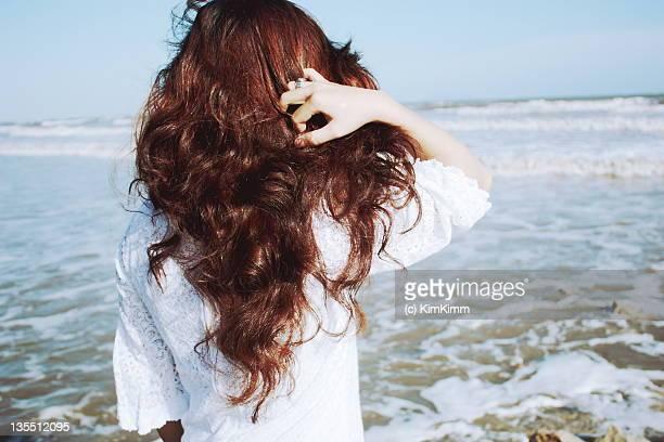 Girl looking at beach