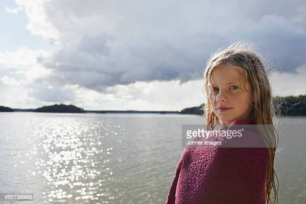 girl looking at camera, skane, sweden - girls flashing camera stock pictures, royalty-free photos & images
