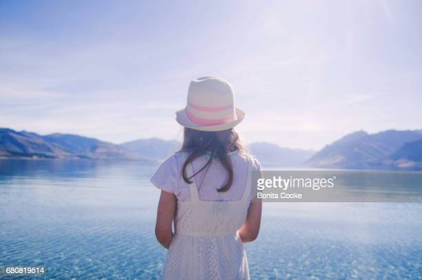 Girl looking at Lake Hawea
