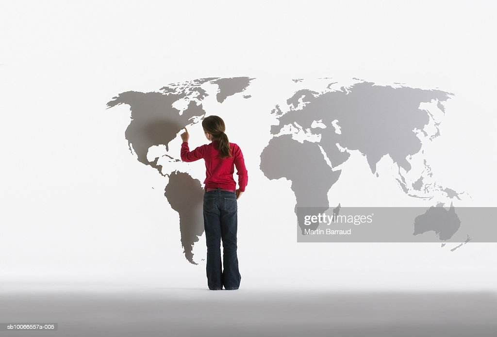 Map Of The World Clear.Girl Looking At Map Of World On Clear Acrylic Sheet Rear Virew Stock