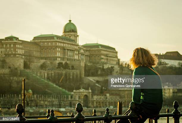 girl looking at the budapest royal palace - budapest stock pictures, royalty-free photos & images