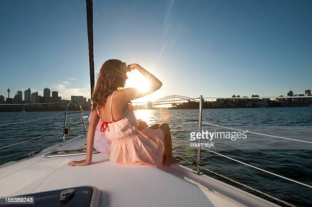 Girl looking at the horizon in a sunny day