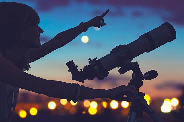 Girl Looking Stars Telescope Beside - Fine Art prints
