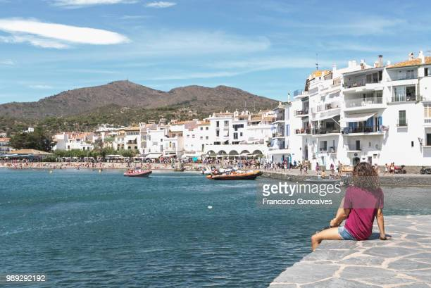 girl looking at the view in cadaqués - cadaques stock pictures, royalty-free photos & images