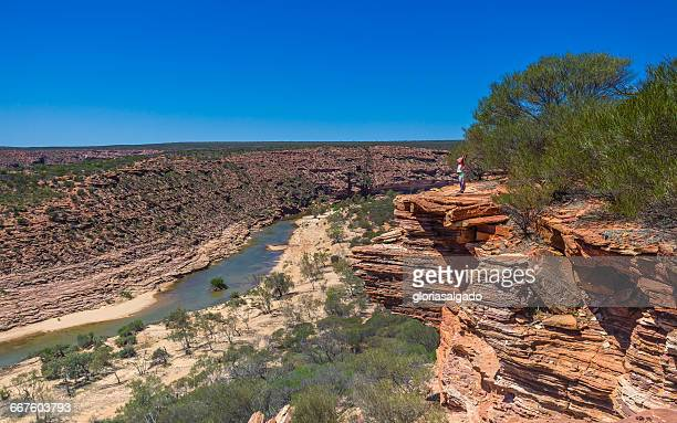 Girl looking at view, Murchison Gorge, Kalbarri National Park, Western Australia, Australia