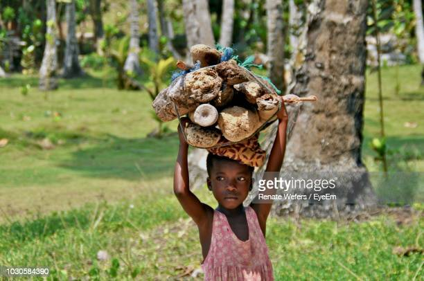 girl looking away while carrying wood on head - armoede stockfoto's en -beelden