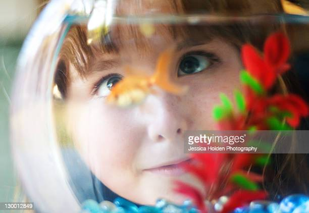 girl looking cross-eyed at fish in fishbowl - goldfish stock pictures, royalty-free photos & images