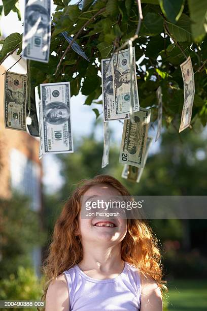 girl (6-8) looking up at banknotes hanging from tree - money tree stock photos and pictures